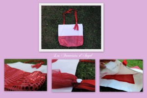 Sac cabas paillettes rouges